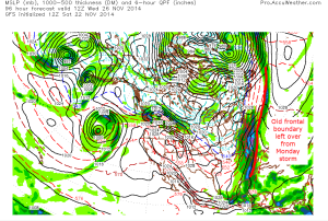 12z CMC Modeal IDEA of surface map and precip 7AM Wednesday morning