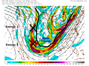 0z CMC Model IDEA of 500mb pattern 7PM tonight.