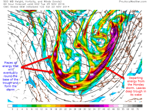 12z CMC Model IDEA for 500mb height, vorticy, wind speed/direction on Monday at 7:00PM