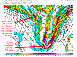 12z CMC Model IDEA for 500mb height, vorticy, wind speed/direction on Tuesday at 7:00PM