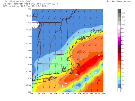 GFS model IDEA on windspeeds for 7 PM Wednesday. Note, speeds in Knots not MPH.