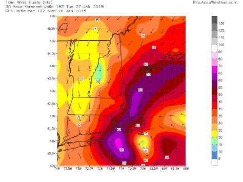 Wind Gusts In Knots Off The 12Z GFS Courtesy: Accuweather