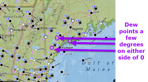 Temperatures (Blue numbers) and Dew Points (purple numbers) showing very dry air across the area this evening. Observations current as of 4:15 PM.