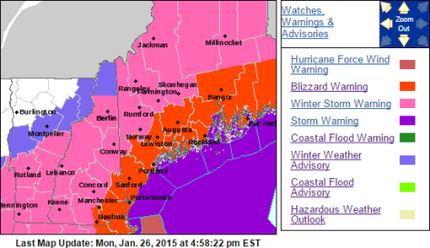 Official Warning Map From NWS Gray Showing Blizzard Warnings Along The Coast With Winter Storm Warnings Inland