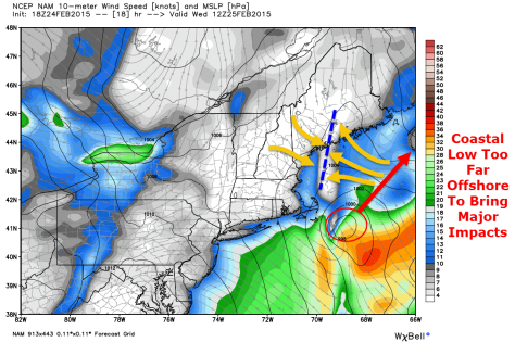 18Z NAM Showing A Distinct Wind Shift Line (Orange Arrows/Blue Dashed Line) Over Midcoast Maine At 7 AM Tomorrow. Credit: Weatherbell