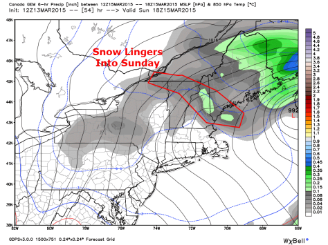 12Z Canadian Model Showing Snow Lingering Into Sunday Afternoon. Map Valid 1 PM Sunday. Credit: Weatherbell