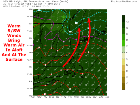 12Z GFS Valid At 1 PM Tomorrow Showing Warm Air Streaming In At 2500 Feet. Credit: Accuweather