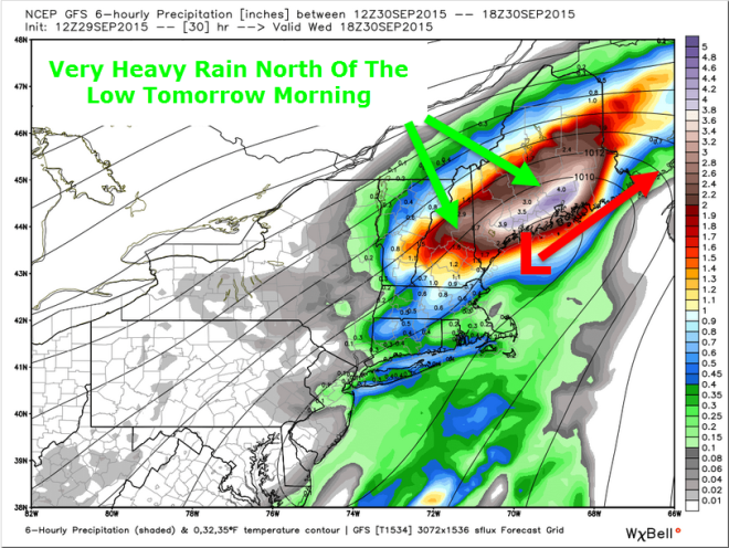 12Z GFS Model Idea Showing Torrential Rain  Tomorrow Map Credit: Weatherbell, Additions By Me.