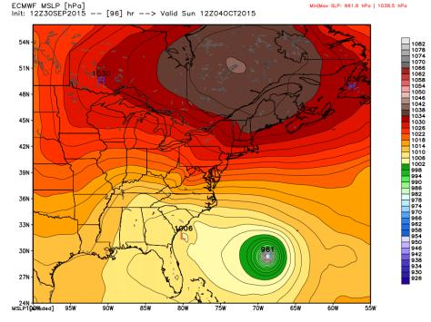 12Z Euro Showing Sprawling High Pressure Pushing Joaquin Safely Out To Sea. Map Credit: Weatherbell