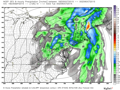 18Z GFS Depiction of Remnants Bringing Heavy Rain To Maine and New Hampshire. Map Credit: Weatherbell