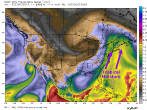12Z GFS Showing Tropical Moisture Streaming Northward From Ex Patricia. Credit: Weatherbell, Additions By Me