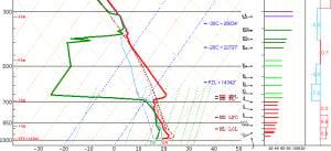 0Z (7PM) Sounding From Gray Shoiwng Very Warm Air Just Above The Surface. Credit: SPC