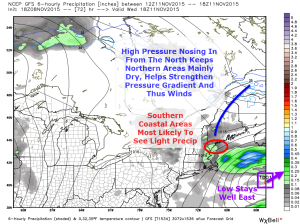 12Z GFS Model IDEA On How The Wednesday Rain Event Plays Out With Annotations By Me. Map Credit: Weatherbell