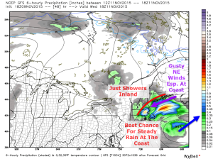 12Z GFS Model Showing Some Of The Key Features In Wednesday's Storm. Map Credit: Weatherbell, Annotations By Me