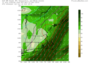 12Z GFS Showing NW Winds Bringing In Colder (And Drier) Air Which Could Shut Off Precip Early