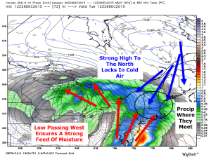12Z CMC Model Showing The Major Players In Tuesday's Event