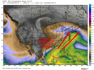 12Z GFS Model Showing Moisture From The Gulf Of Mexico Plowing Northward Monday Night. Image Credit: Weatherbell