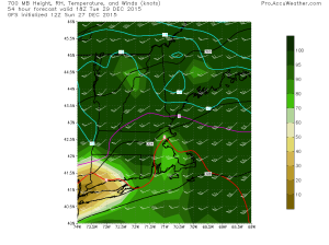 12Z GFS Showing Warm Air Aloft Creeping In Tuesday Afternoon. Credit: Accuweather