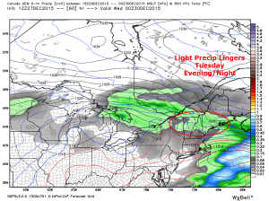 12Z CMC Showing Light Precip Lingering Tuesday Evening. Image Credit: Weatherbell
