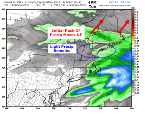 12Z RGEM Model Showing Light Precip Lingering Tomorrow Evening. Image Credit: Weatherbell