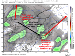 12Z GEM Showing The Setup Tuesday Evening. Image Credit: Weatherbell