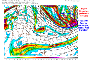 12Z GEM Showing The 500mb Factors In Favor Of Explosive Storm Development. Image Credit: Accuweather