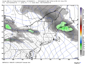 12Z CMC Showing The Potential For A Mesolow Along The Coast Monday Afternoon. Credit: Weatherbell