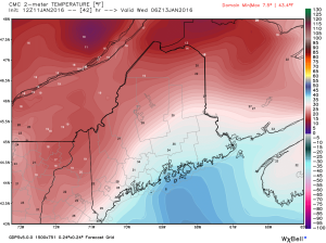 12Z GEM Showing Near Freezing Temps At The Coast. Credit: Weatherbell