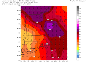 12Z GFS Showing Very Strong Winds Just Above The Surface. Credit: Accuweather