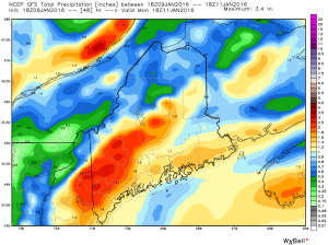 "18Z GFS Showing A Region-Wide 1-2.5"" Rainfall. Credit: Weatherbell"