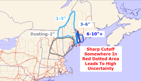 Expected Snowfall. Notice The Sharp Cutoff Which Leads To High Uncertainty From Brunswick On East To Rockport.