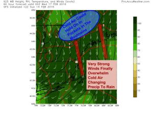 12Z GFS Showing Strong Winds Just Above The Surface Pumping Warm Air Into The Area. Image Credit; Accuweather