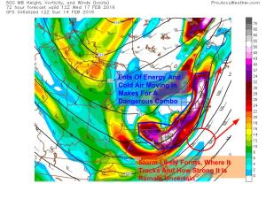 12Z GFS Showing A 500mb Setup That Is Dangerous For Surprise Snow Wednesday. Image Credit: Accuweather
