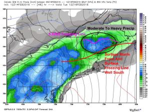 12Z GEM Showing Freezing Rain Potential Tuesday. Image Credit: Weatherbell