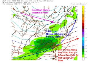 18Z NAM Showing The Setup Monday As Cold Air Builds. Image Credit: Accuweather