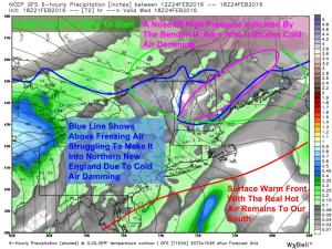 12Z GFS Showing The Setup With The First Wave Wednesday Evening. Image Credit: Weatherbell