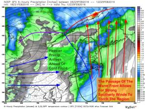 12Z GFS Showing The Setup For The Second Phase Of The Event Thursday Afternoon/Evening