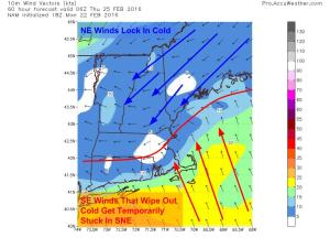 12Z GFS Showing The Cold Air Damming Setup At The Surface Wednesday Night. Image Credit: Accuweather