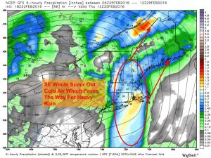 12Z GFS Showing Heavy Rain Moving In Thursday. Image Credit: Weatherbell