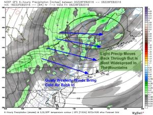 12Z GFS Showing Light Rain And Snow Moving Back In Friday Morning As Cold Air Pours Back In. Image Credit: Weatherbell