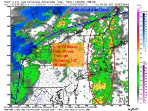 12Z Hi-Res NAM Showing Heavy Rain Thursday Morning. Image Credit: Weatherbell