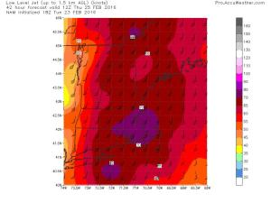 18Z NAM Showing A Strong But Not Ridiculous Low Level Jet Thursday Morning. Image Credit: Weatherbell