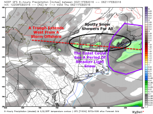 12Z GFS Outlining The Light Snow Threat Tomorrow. Image Credit: Weatherbell