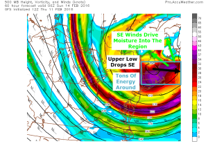 12Z GFS Showing The Setup For Possible Snow Saturday. Image Credit: Weatherbell