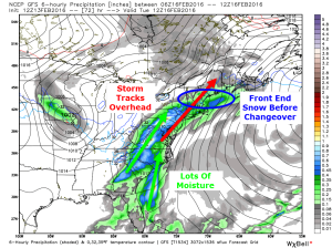 12Z GFS Showing The Setup For Tuesday. Image Credit: Weatherbell