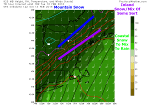 12Z GFS Highlighting A Rough Idea For Dominant Precip Type Tuesday Afternoon. Image Credit: Accuweather