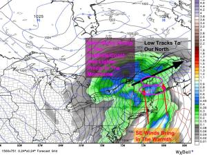 18Z GFS Sets Up Our Next Storm. Note The Warmer Westerly Track. Image Credit: Weatherbell