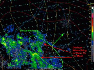 5:00 PM Observations Showing Precip Moving In  Associated With Tonight's Storm. Image Credit: COD