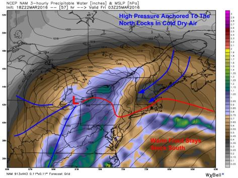 18Z NAM Showing The Setup For Friday's Winter Weather. Image Credit: Weatherbell