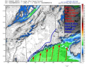 12Z HRDPS Showing Winds Friday Morning At The Surface. Notice The Warm Winds At The Coast And The Cold High Pressure (No Winds) Holding Strong Inland. Image Credit: Weatherbell